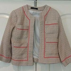 View size 4 Blazer beige pink white jacket